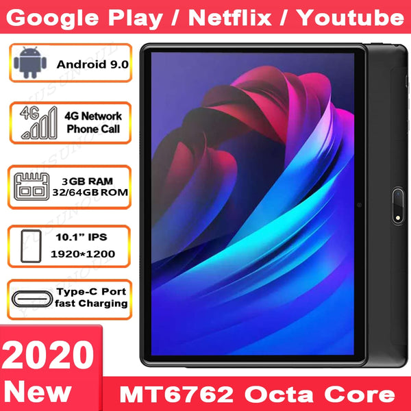 Sales 3+32/64GB 4G LTE Phone Call New Google 10 inch Tablet Android 9.0 8 Cores Tablet PC Type-C Charge 5G WIFI GPS bluetooth