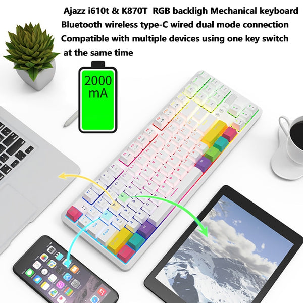Ajazz i610t / k870t 61 key USB Bluetooth dual mode computer tablet phone universal white RGB color backlight mechanical keyboard