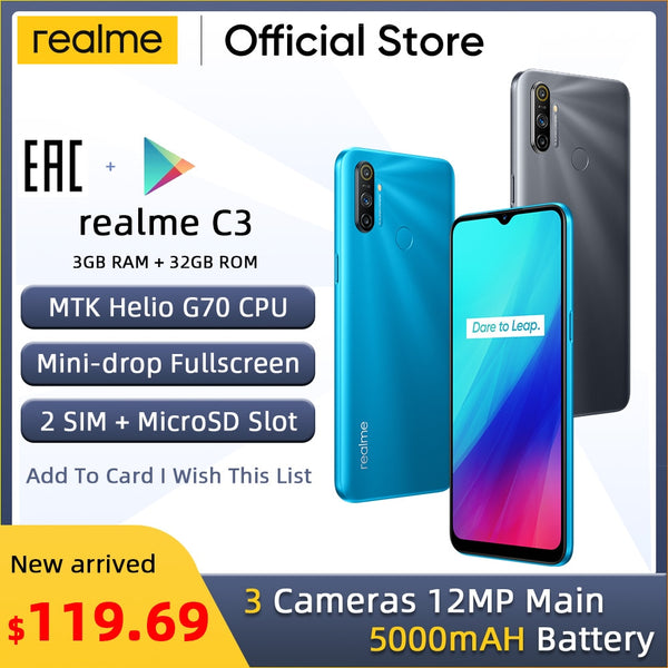 realme C3 Global Version 3GB RAM 32GB ROM Pro Mobile Phone MTK Helio G70 CPU 12MP Camera 6.5