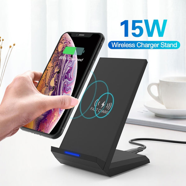 15W Qi Wireless Charger Stand For iPhone 11 pro 8 X XS  Samsung s10 s9 s8 Fast Wireless Charging Station Phone Charger (Black)