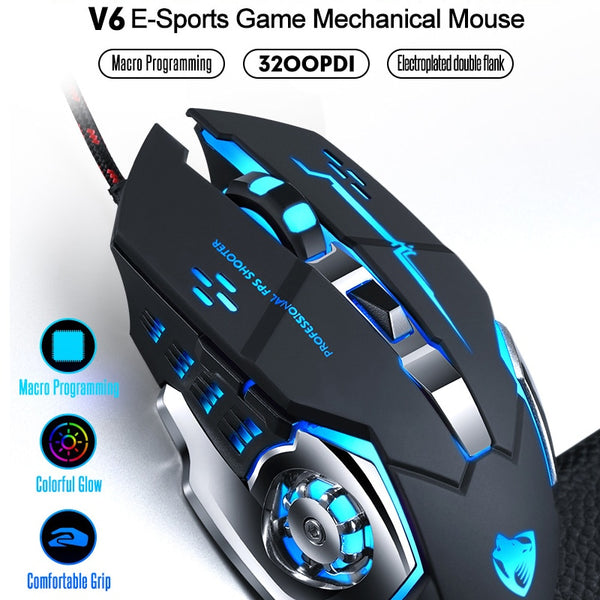 Wired Gaming Mouse Professional Gamer Mouse Mice 6 Buttons 3200DPI Computer Programmable Mouse USB Optical For Laptop Desktop