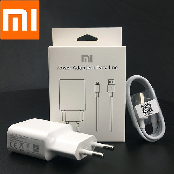 Original Xiaomi EU Power Charger adapter 5V/2A Charger usb micro cable for Red Mi 4 4X 4A 7 Note 4X5 5A 6 6A 7A S2 S1 mi a2 lite