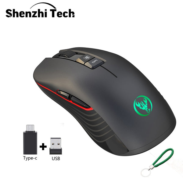 2.4G TYPE-C Wireless Gaming Mouse USB-C Wireless Mouse Rechargeable 7 Colors Breathing Light Compatible with Mac and PC (black)