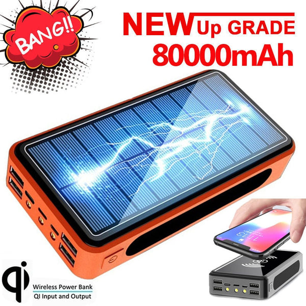 80000mAh Qi Wireless Power Bank Solar Power Bank 9V 4A Charger External Battery Bank 4usb for Iphone Samsung Xiaomi