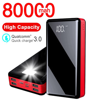 80000mAh Power Bank High-capacity Portable Outdoor Travel Powerbank Poverbank Mobile Phone Fast Charger for Xiaomi Mi IPhone