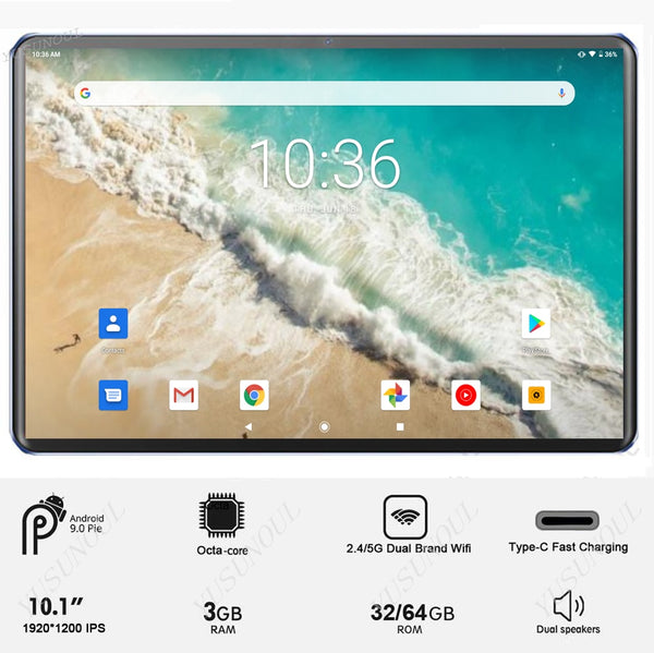 Type-C Fast Charge 4G LTE Phone 5G Wifi 2.5D Glass Android 9.0 10 inch tablet 8 Cores 1920x1200 WiFi GPS Tablet 10.1