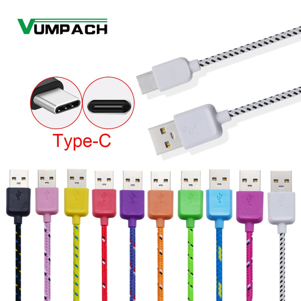 USB Type C Cable Braided Fast Charging 1m 2m 3m Cord Charger for huawei p9 p10 p20 mate 10 pro lite samsung Galaxy s8 S9 a3 a5