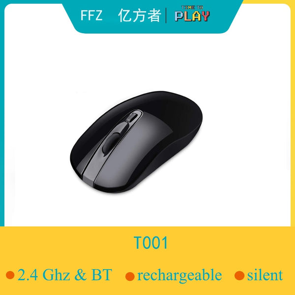 Premium 2.4Ghz &4.0 Bluetooth Wireless Mouse Rechargeabel,Ultra Silent click and Ergnomic for Computer with USB B Nano Receiver