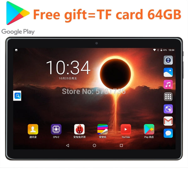 64GB Wifi GPS Tablet 2020 Super Tempered 2.5D Screen 10 inch tablet PC Android 9.0 OS Octa Core 4GB RAM 64GB card gift