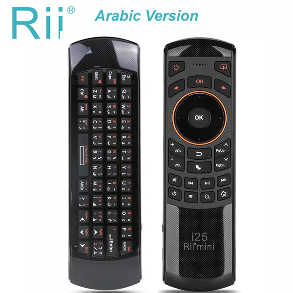 Original Rii mini i25 2.4GHz Arabic Keyboard Air Mouse Remote Control IR Extender Learning for Smart TV Android TV Box  HTPC
