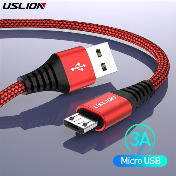 USLION 3A Micro USB Cable Fast Charge USB Data Cable Cord for Samsung Xiaomi Redmi Note 4 5 Android Microusb Cable Fast Charging