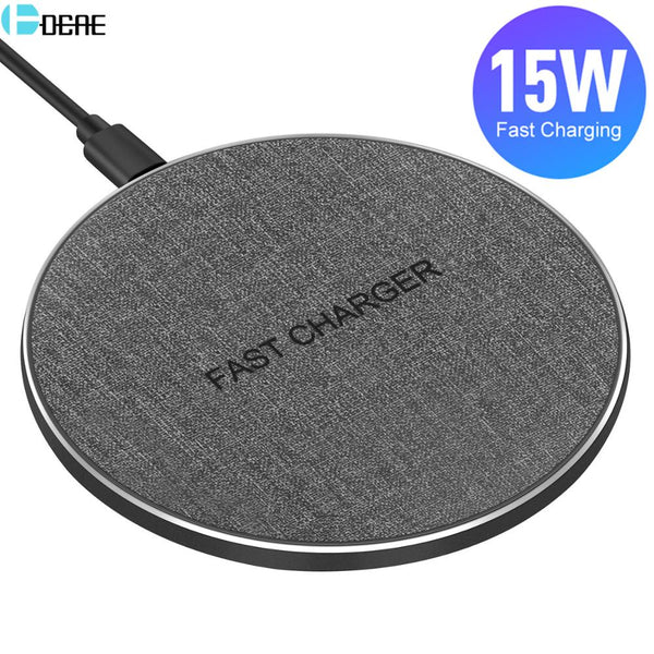 QI Wireless Charger Type C USB 15W Max for IPhone 11 XS XR X 8 Fast Charging For Samsung S20 S10 Xiaomi Mi 10 9 Huawei P30 Pro (Gray)