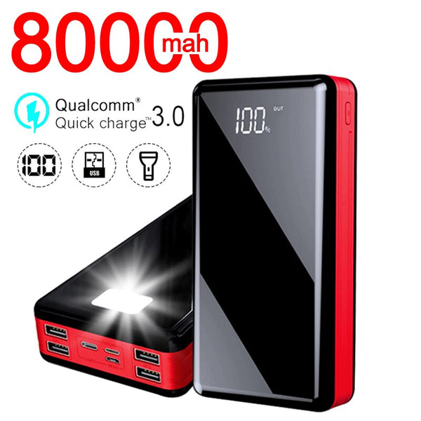 80000mAh High Capacity Power Bank Portable Phone Fast Charger Travel Powerbank for Xiaomi / Samsung / IPhone Poverbank Mobile