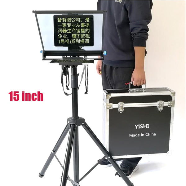YISHI 15 inch Teleprompter for Mobile Phone Tablet iPad Prompter with Tripod for News Interview Live Speech Teleprompter (Black)