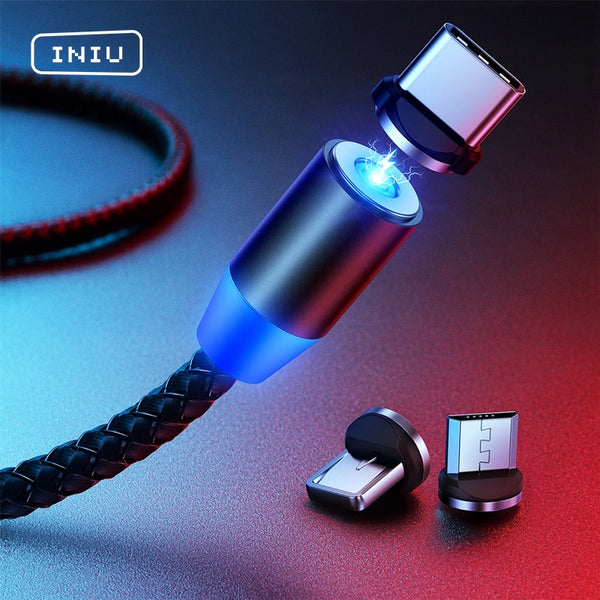 INIU LED Magnetic Cable Micro USB Type C Fast Charging Type-C Cord For Samsung Xiaomi Magnet Phone Charger For iPhone 11 8 7 6 5