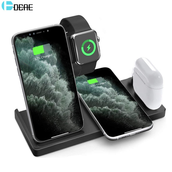 QI 15W Fast Charge 4 In 1 Wireless Charger For iPhone 11 XS XR X 8 Dock Station For Apple Watch 5 4 3 Airpods Pro Charging Stand