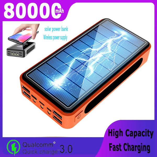 80000mAh Solar Power Bank Large Capacity Wireless Portable Charger External Battery 4USBPort PowerBank for Samsung Xiaomi IPhone