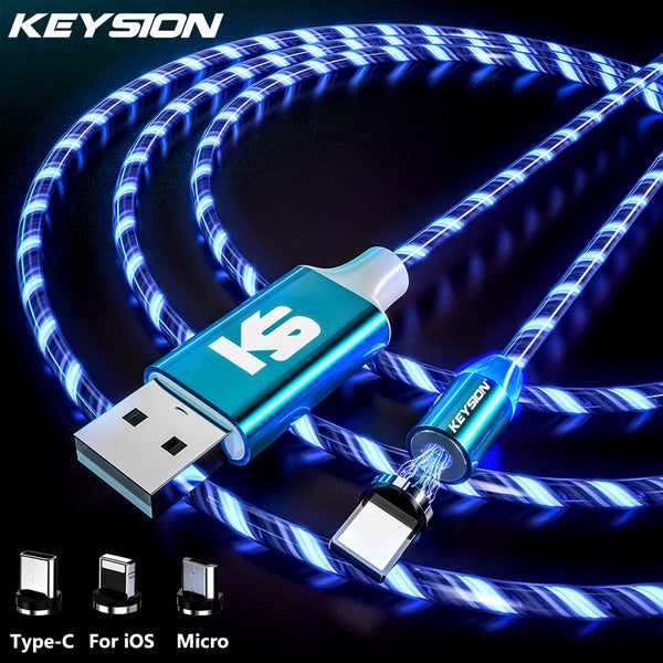 KEYSION Magnetic Cable Flowing Light LED Micro USB Cable for Samsung Type C Charging for Xiaomi for iPhone Magnet Charger Cord