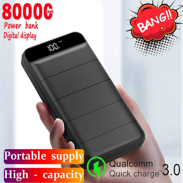 80000mAh Mobile Power Bank Large Capacity Portable Charger 2USB Port  External Battery Fast Charging for Samsung Xiaomi IPhone