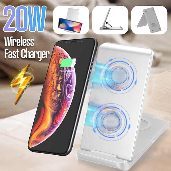 Double coil 20W Qi Wireless Charger for SamsungS10 S9 Note10 9 Fast Charging Stand For iPhone 11 Pro XS XR X Type-C Quick Charge
