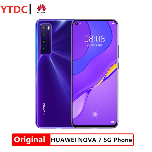 New Huawei Nova 7 5G Smartphone Kirin 985 64MP Quad Rear Cams 32MP Front Cam 6.53'' OLED Mobile Phones 40W SuperCharge NFC