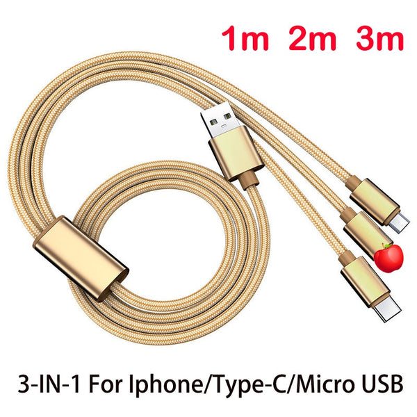3 in 1 USB cable for iphone5 6 7plus 8 Xr XS type-C micro USB for Samsung Xiaomi USB3A fast charging cable 1m 2m 3 meters longer