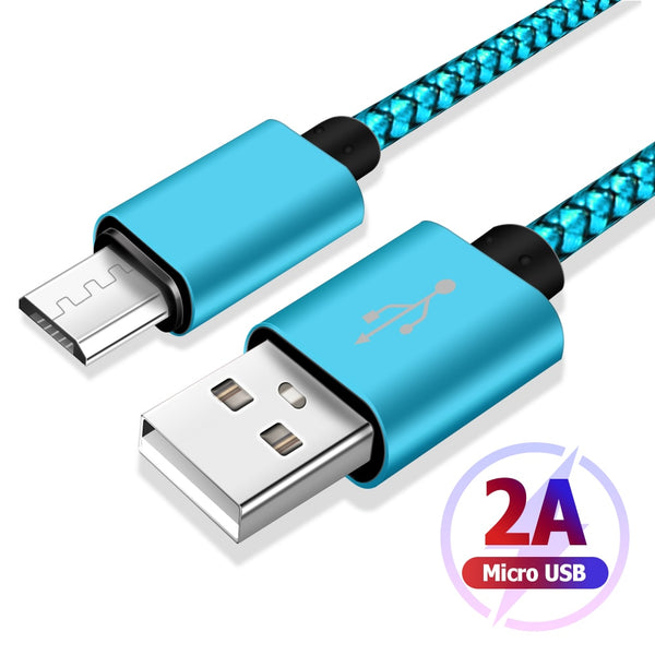 USB A 2.0 to Micro B Charger Cable High Speed Data Charging For Samsung Xiaomi Smart Device Data Charging Cable Nylon Braided