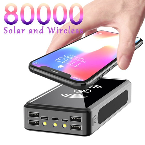 80000mAh Power Bank Wireless Solar Battery Pack LED Light Poverbank Portable 4 USB Phone Fast Charger for Xiaomi Mi IPhone