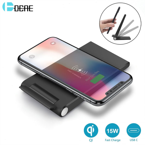 DCAE Fast 15W 10W Qi Wireless Charger For iPhone 11 Pro 8 X XR XS Max QC3.0 Fast Charging Stand Pad for Samsung S20 S10 S9 USB C