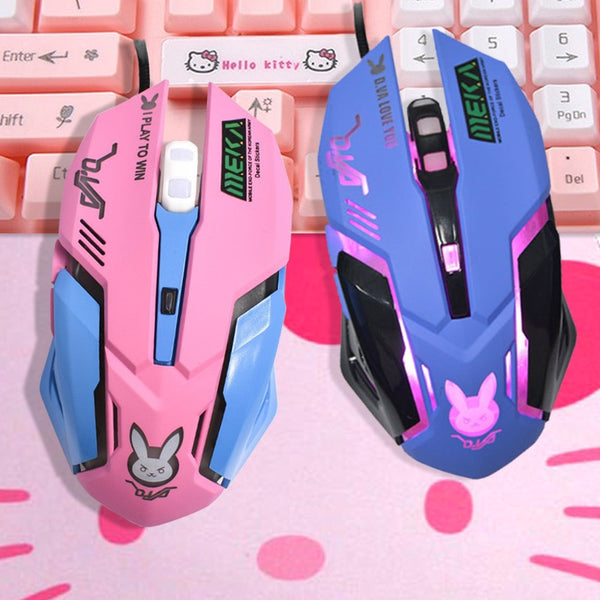 OW DVA Pink Game Office Mouse Girls Light-emitting Competition Chicken Cute Wired Wireless Mouse for PC Laptop CF Overwatch