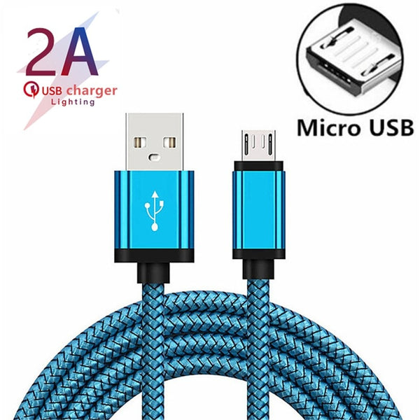 Micro USB Cable 2A Fast Charging Nylon USB Sync Data Mobile Phone Adapter Charger Cable For Samsung Sony HTC LG Android Cables