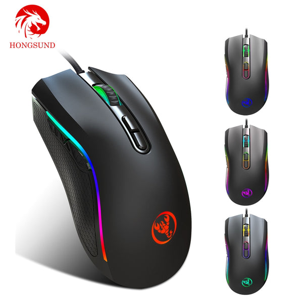 Hongsund  Upgraded version RGB Light 7200DPI Macro Programmable 7 Buttons  Optical USB Wired Mouse Gamer Mice computer Gaming