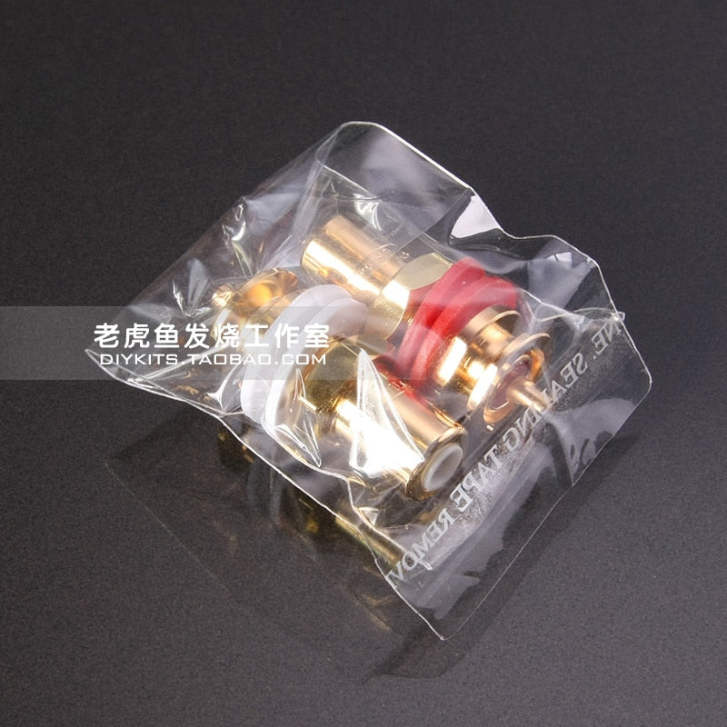 Original authentic American brand CMC 816u oxygen-free copper plated blonde burning audio RCA socket lettering version