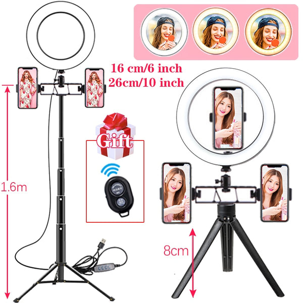 6/10inch Led Ring Light Profissional Selfie Ringlight Makeup Lamp Video Studio with Tripod 1.1/1.6M Stand for Live for Tik Tok