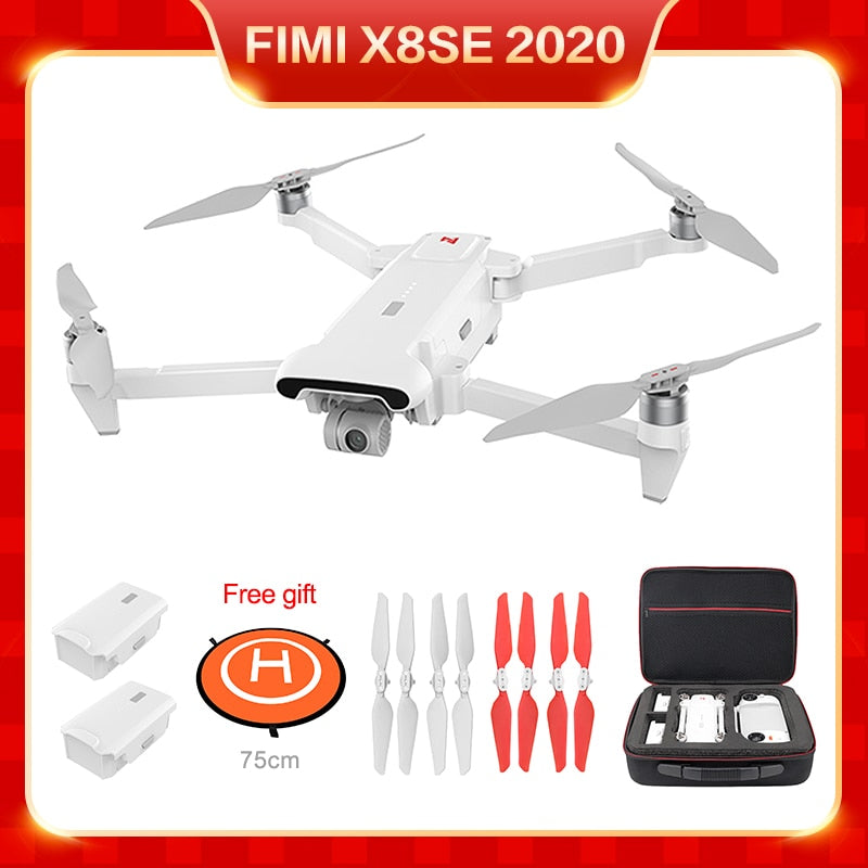 FIMI X8 SE 2020 3-Axies 4K H.265 HDR 35mins Flight Time 8KM Remote Control RC Camera Drones Extra Battery Propeller Bag Set