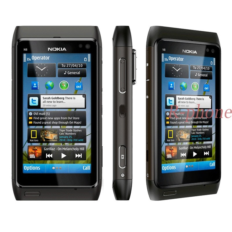 "Unlocked Original Nokia N8 Mobile Phone 3G WIFI GPS 12MP Touchscreen 3.5"" 16GB Refurbished Smartphone"
