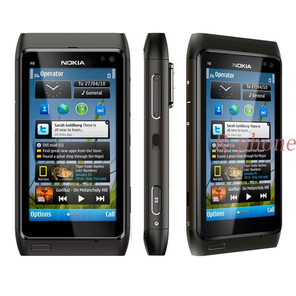 Unlocked Original Nokia N8 Mobile Phone 3G WIFI GPS 12MP Touchscreen 3.5