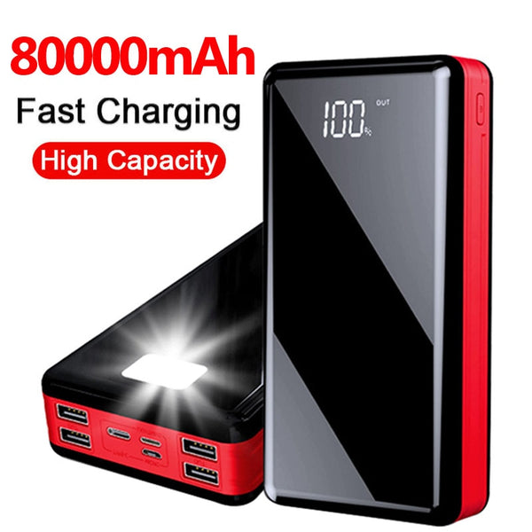 80000mah Power Bank Portable External Battery Charger LED Digital Display For IPhone Samsung Xiaomi Powerbank
