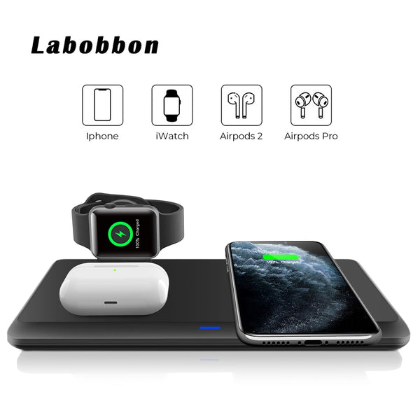 Labobbon 3 in 1 Wireless Charging Station for iPhone 11/11pro/Se X XS XR Xs Max 8+ iWatch 6 SE AirPods 2/Pro for Samsung S20/S10 (Black)