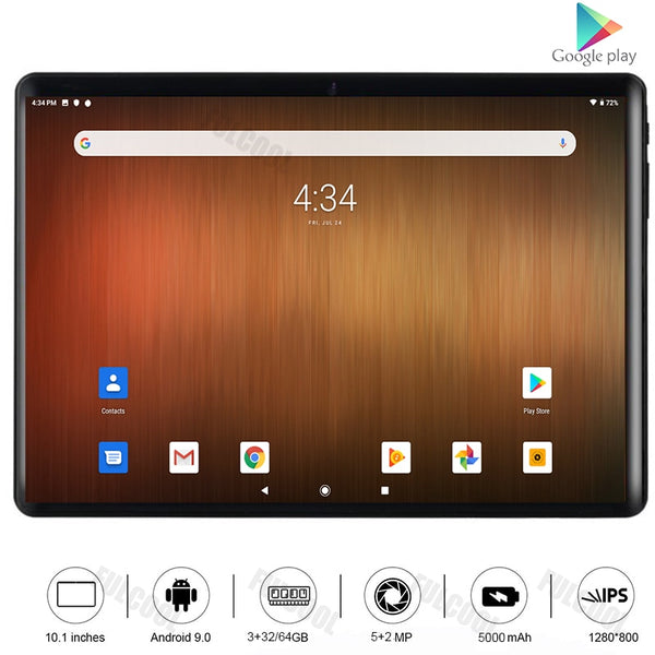 Super Tempered 10 inch tablet Octa Core Android 9 Pie 3GB RAM 32GB ROM 5.0MP Camera 4G FDD LTE 5G WiFi Bluetooth Media Pad 10