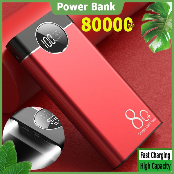 Power Bank 80000mah Portable Fast Charging Large Capacity PoverBank Double USB External Battery for Iphone Xiaomi Samsung