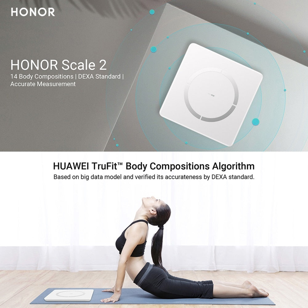 HONOR Scale 2 DEXA Standard Body Analyzer Monitor Smart Weighing Scale Fat/Heart Rate Measurement Smart Body Scales for Android