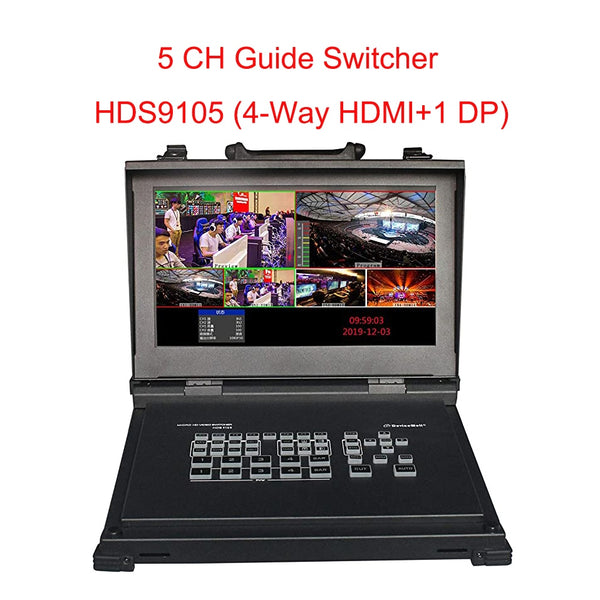 DeviceWell HDS9105 Video Switcher Supports 4 HDMI + 1 DP Signal inputs Five-Channel high-Definition for in Broadcasting Live