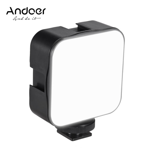 Andoer Mini LED Video Light Photography Fill-in Lamp Dimmable 5W with Cold Shoe Mount Adapter for Canon Nikon Sony DSLR Camera