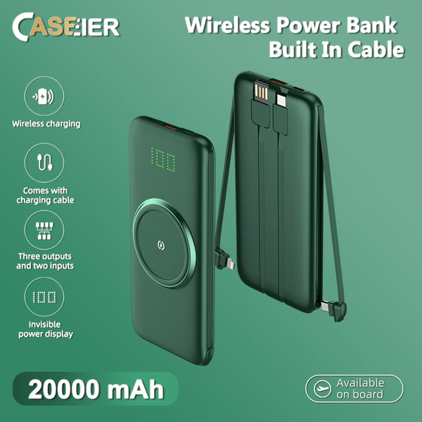 CASEIER Wireless Charger 20000mAh Power bank For iPhone 11 XR XS Fast Charging External Battery Powerbank with Cable For Xiaomi