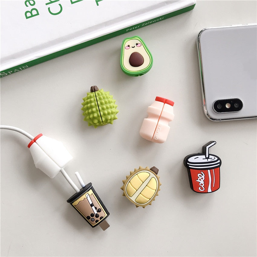 Cute Cartoon Avocado Durian Cola Milk Cable Winder Protector Data Line Cord Protective Case Cover For iPhone USB Charging Cable