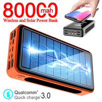 80000mAh Solar Battery Pack Wireless Power Bank LED Light Powerbank Portable 4USB Mobile Phone Charger for Xiaomi Samsung IPhone