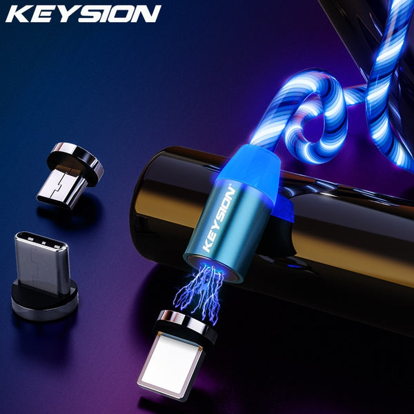 KEYSION Magnetic Flowing Light LED Micro USB Type C Cable for Samsung Xiaomi Phone Charging Wire for iPhone Magnet Charger Cord