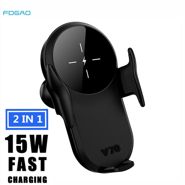 15W Car Fast Qi Wireless Charger For iPhone 11 8Plus XR XS Automatic Type C Air Vent Mount Holder For Samsung S20 S10 S9 Note 10