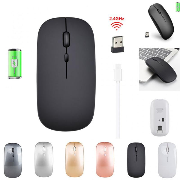 New 2.4G Wireless Mouse Rechargeable Charging Ultra-Thin Silent Mouse Mute Office Notebook Mice Opto-electronic For Home Office